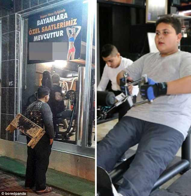 The photo of this young boy staring into a gym went viral, so the gym offered him free membership
