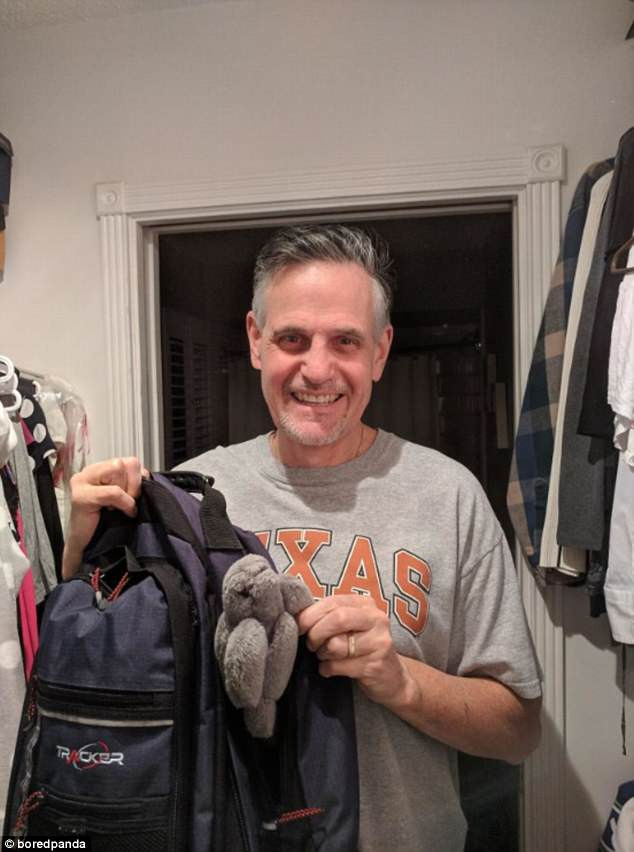 This father kept a stuffed toy in his backpack to remind him of his child - 18 years later he still carries it in his backpack
