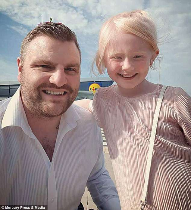 Andy Terry, 34, from Newcastle, decided to take step-daughter Sophie, six, (pictured together) on their first daddy-daughter 'date night'