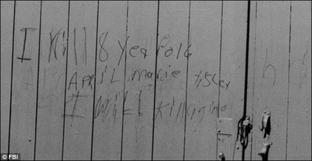 Two years after April's murder in 1988 police found a message scrawled on the side of a barn that read: 'I kill 8 year old April Marie Tisley. I will kill again' (sic)