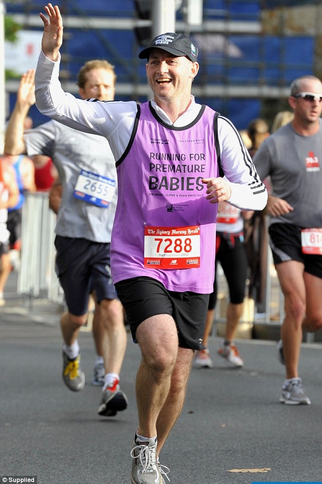 Ash Smith ran the Sydney half marathon in aid of the couple's foundation Running for Premature Babies