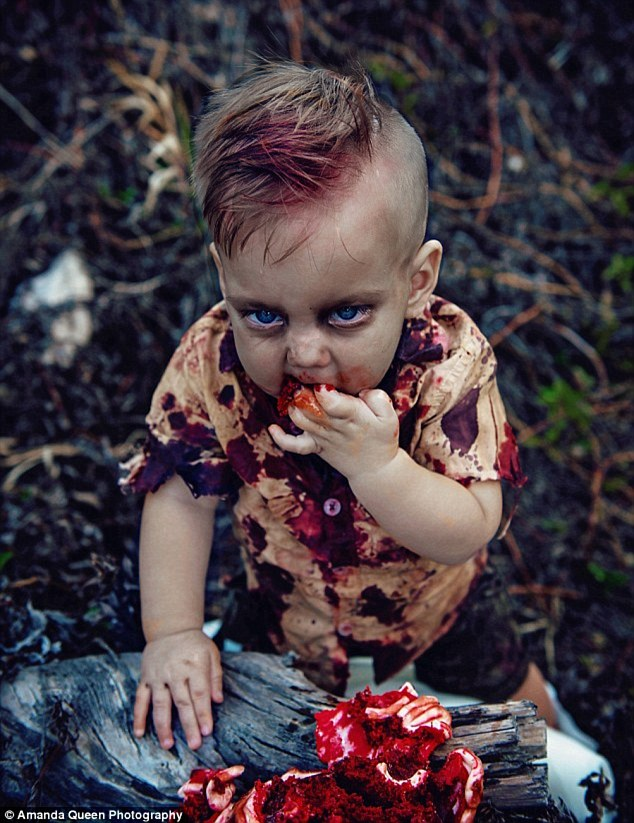 'What better than a zombie-themed cake smash for the tiny baby boy who was pronounced dead and then miraculously came to life on Halloween,' Phoenix's mother said