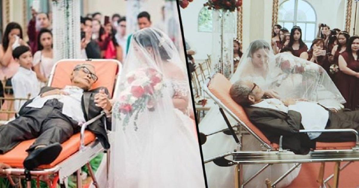 Ετοιμοθάνατος πατέρας με καρκίνο συνόδευσε την μοναχοκόρη του στο γάμο της μέχρι την εκκλησία ξαπλωμένος σε φορείο