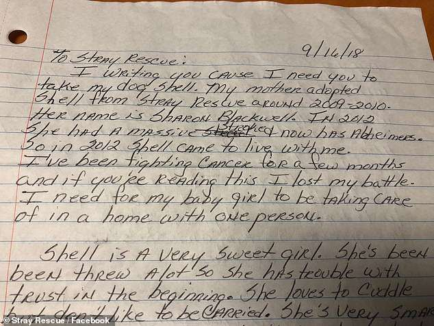 Desperate plea: On Monday, Chrisp dropped off Shell at Stray Rescue of St Louis, along with this tragic note
