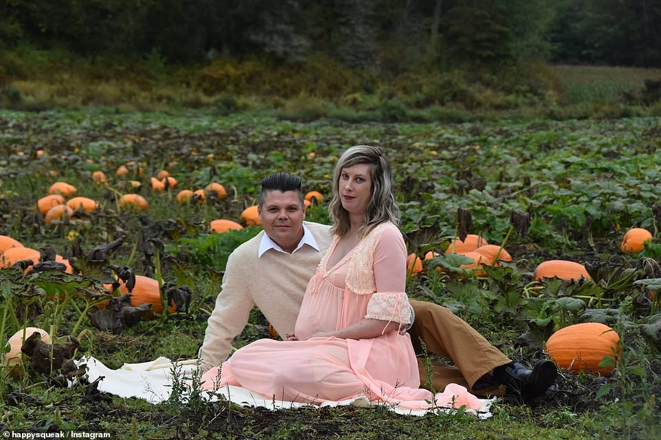 The chose a pumpkin patch as the location for their maternity shoot to share news of their impending arrival with loved-ones
