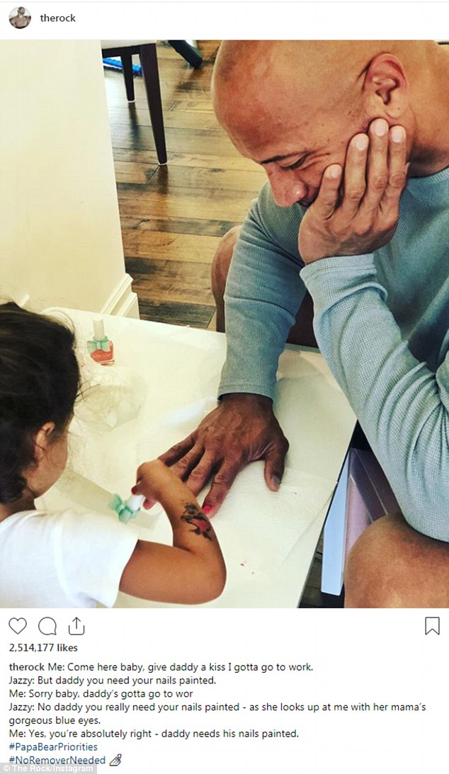 Adorable: Last month, the action star shared a picture of him getting his nails painted by Jasmine