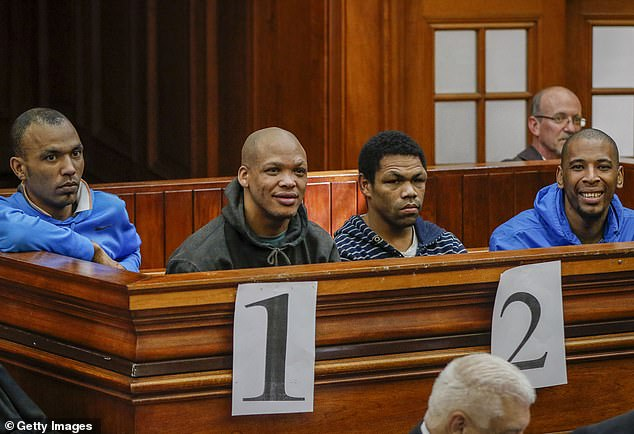 Verdict: Vernon Witbooi, 33, Geraldo Parsons, 27, Eben van Niekerk, 28, and Nashville Julius, 29, appear in court during their trial