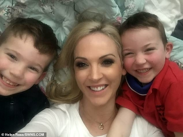 Ms Ross, pictured recently with her sons Hugo (left) and Henry (right) was diagnosed with broken heart syndrome after her childhood sweetheart left her in 2006