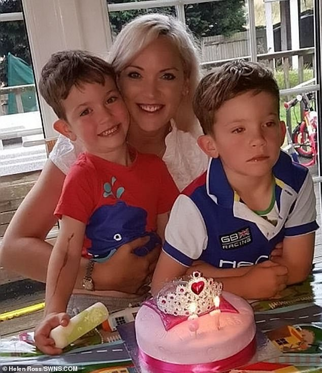 Ms Ross (pictured recently with her children) went to university after her ordeal to study equine sciences and has since set up her own business selling saddle pads for horse riders