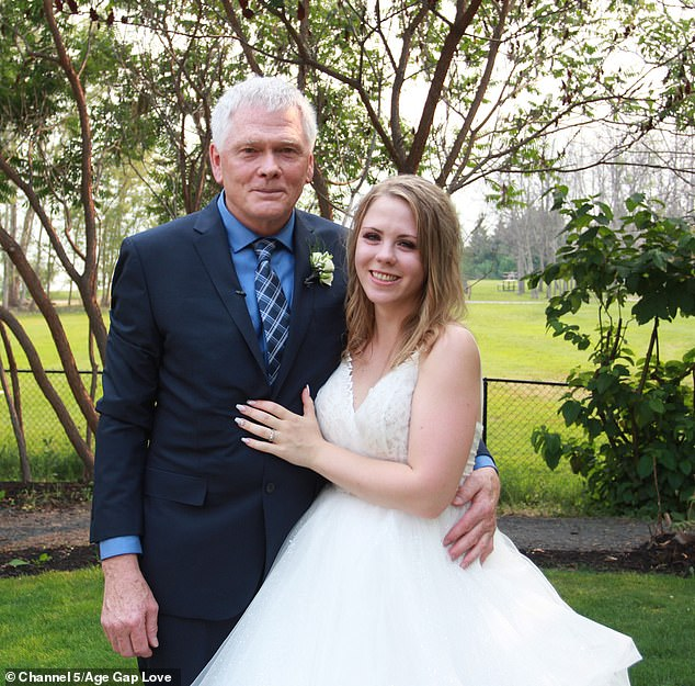 Tying the knot: Stefani Anderson, 23, married retired builder Don Walper, 68, in their hometown of Vernon, British Columbia, in a ceremony filmed for Channel 5 series Age Gap Love