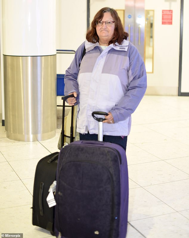 Diane De Zoysa, 60, has finally returned to the UK (pictured at Edinburgh airport) after being stranded in Sri Lanka