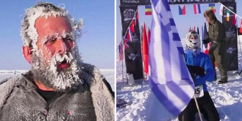 Τερμάτισε με την ελληνική σημαία στο χέρι: Έλληνας ο πρώτος νικητής του μαραθωνίου στον Βόρειο Πόλο