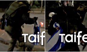 Αστυνομικός σώζει την ελληνική σημαία από αναρχικούς που ήθελαν να την  κάψουν a442bdfa80d