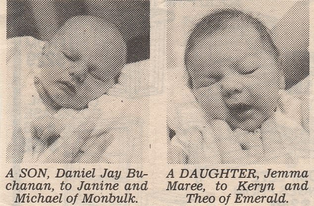 Daniel and Jemma were also pictured side-by-side in the local newspaper announcement
