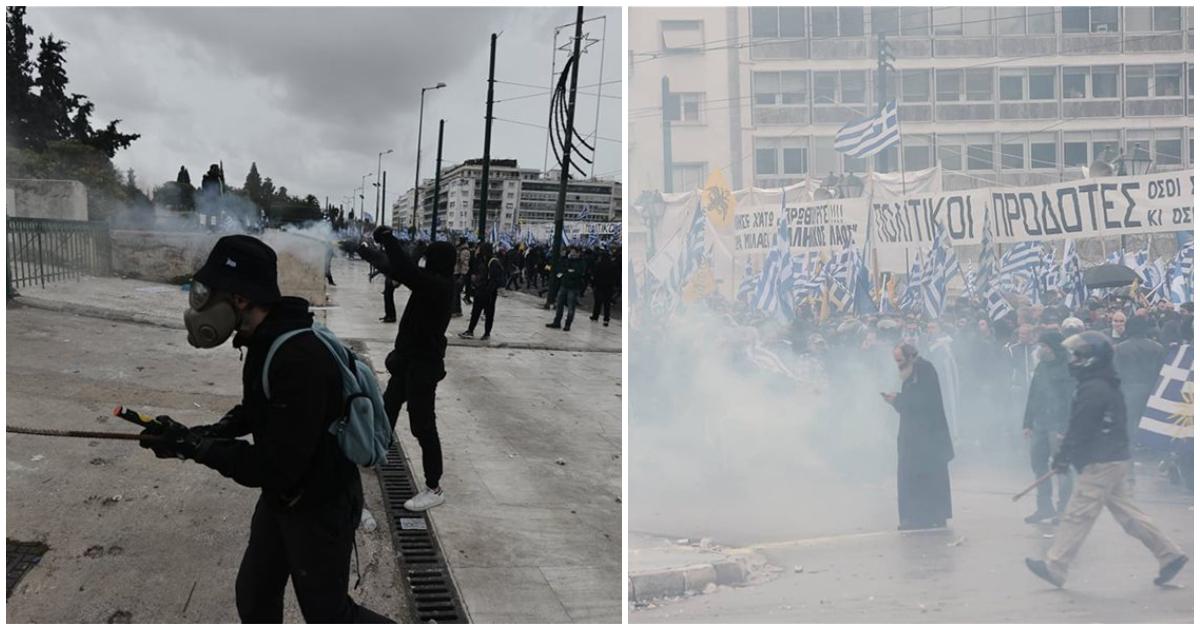 f41886dba4e Οι αστυνομικοί πέταξαν χημικά προκειμένου να διαλύσουν τη συγκέντρωση έξω  από τη Βουλή – Άγνωστοι διαδηλωτές πέταξαν κόκκινες και άσπρες μπογιές στα  ΜΑΤ ...