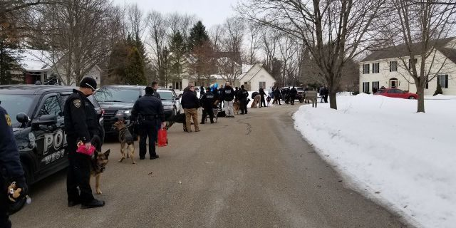 Close to 40 different police departments —including K-9 officers — visited Emma Mertens at her home in Wisconsin on Saturday.